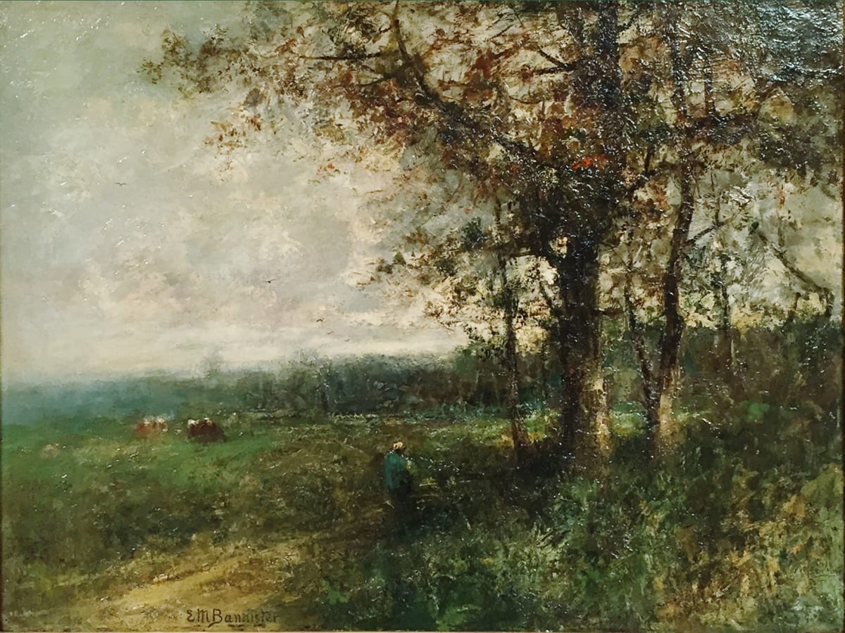 Edward Mitchell Bannister Landscape , (trees/right, center subject with 2 cows/left), 1885 Oil on Board 18 x 24