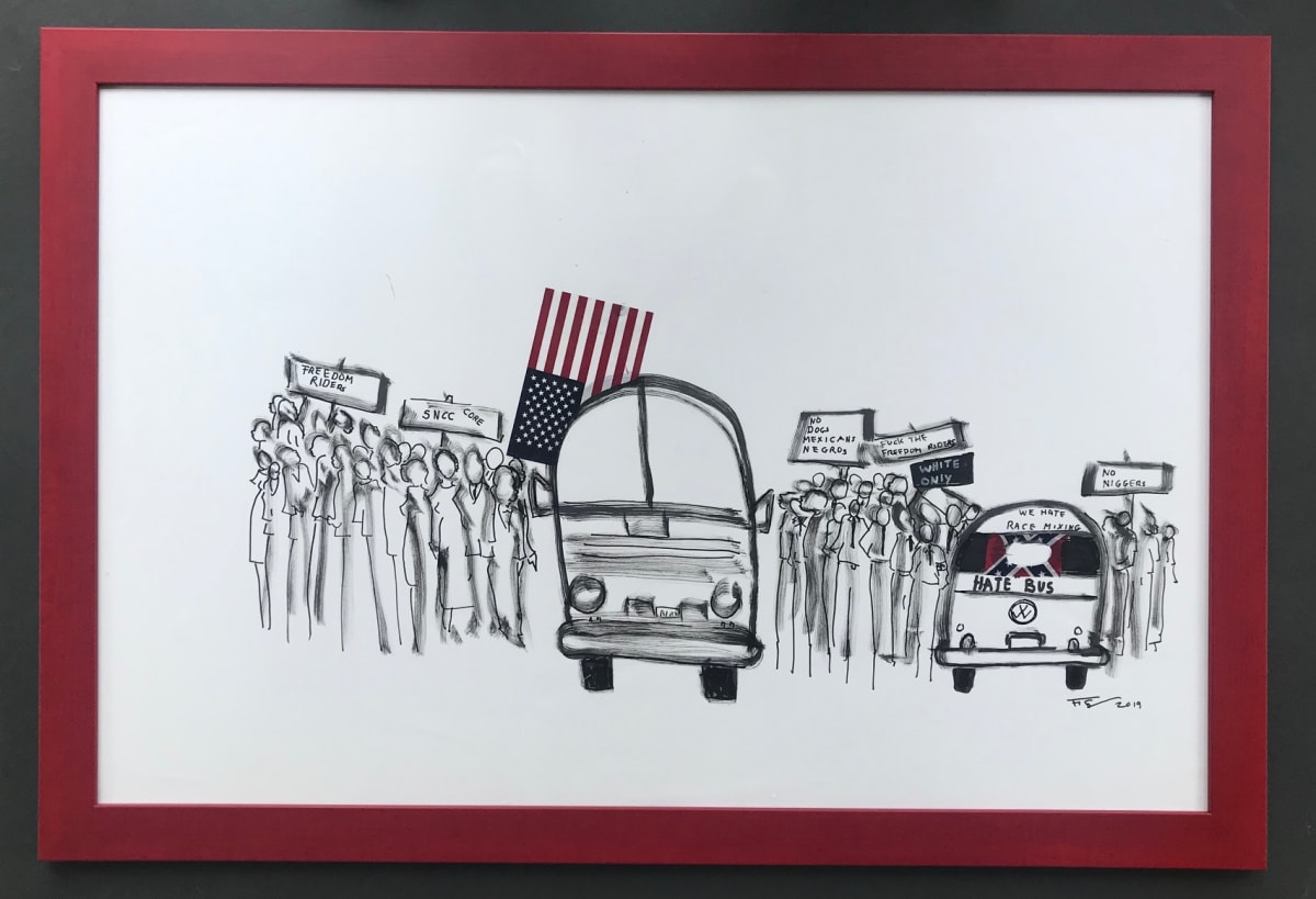 Frank Frazier The Hate Bus, 2019 Shoe Polish 24 x 43 1/2