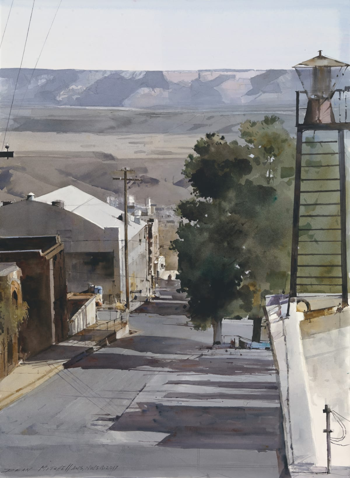 Dean Mitchell Jerome City Watercolor on Paper 30 x 20