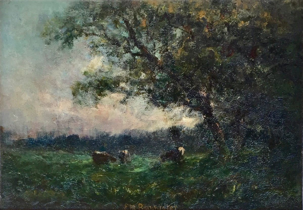 Edward Mitchell Bannister Landscape 3 Cows with trees on right, 1888 Oil on Board Framed: 16 1/2 x 20 1/2 x 2 1/2 Unframed: 10 x 14