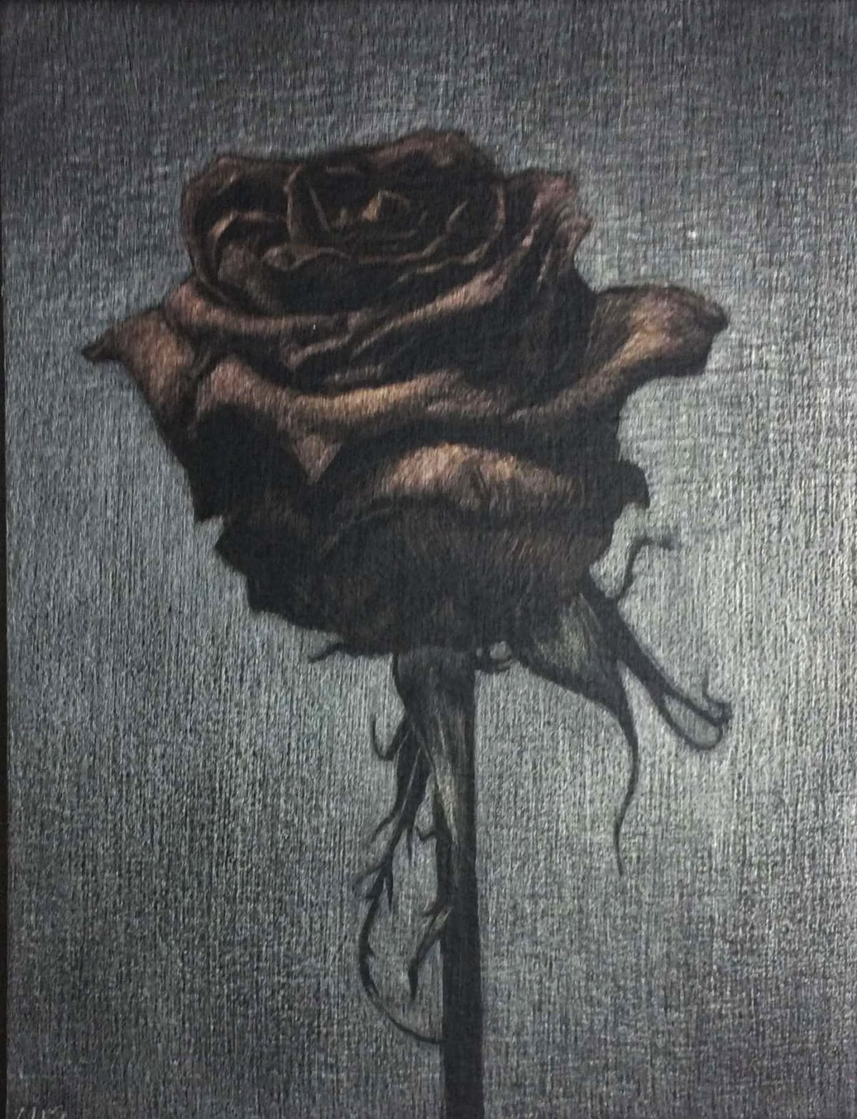 Marjorie Williams-Smith New Rose in Metal, 2017 Aluminumpoint and goldpoint on black acrylic gesso 5 1/8 x 4