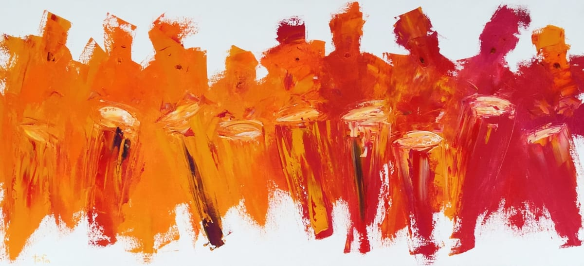 TAFA Drummers Syncopation, 2008.0 Oil on Canvas 24 x 52