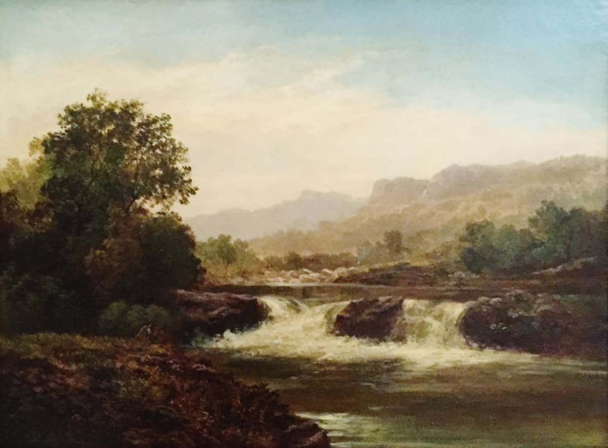 Robert Scott Duncanson Untitled (Rushing river downstream), c. 1852 Oil on Canvas Framed: 28 x 23 x 3 Unframed: 16 x 21 1/2