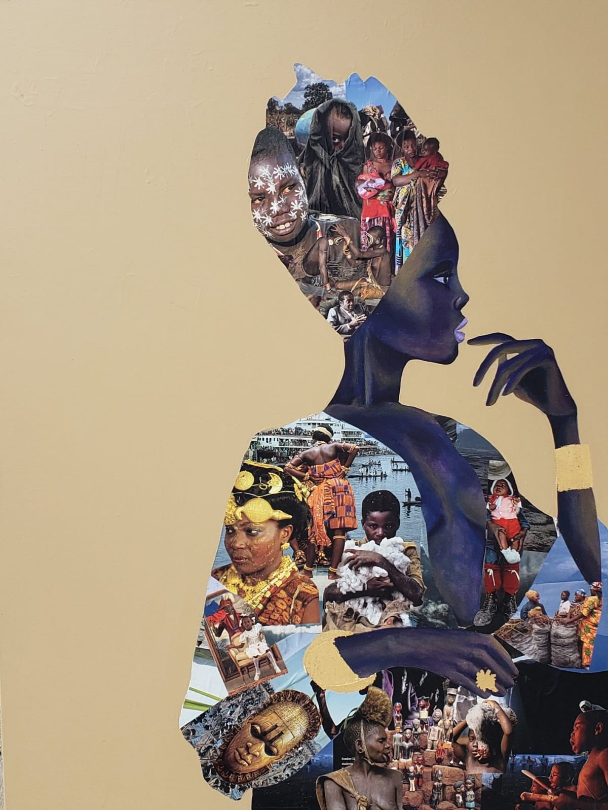 Abi Salami I Wear Africa Proudly, 2019 Collage, acrylic and gold leaf on canvas 48 x 36 x 1.5 inches