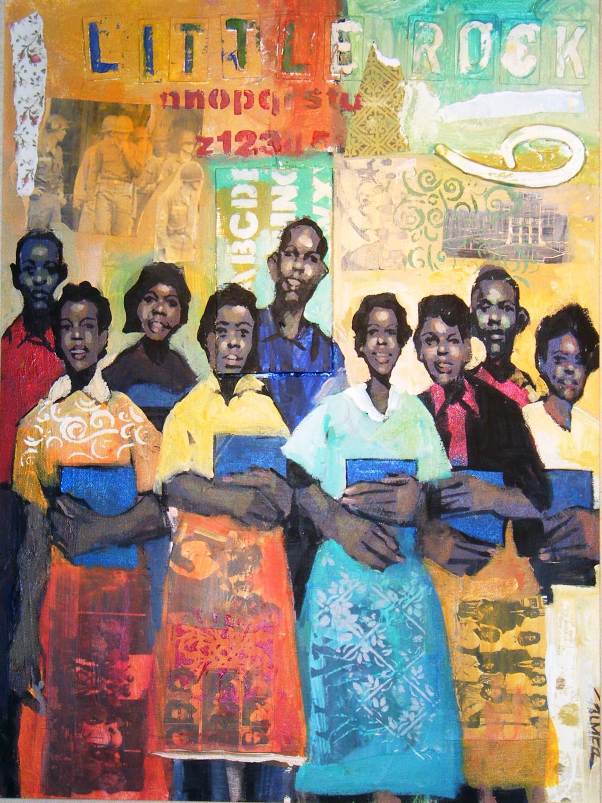 Charly Palmer Little Rock Nine- Still Standing Mixed Media 18 x 24