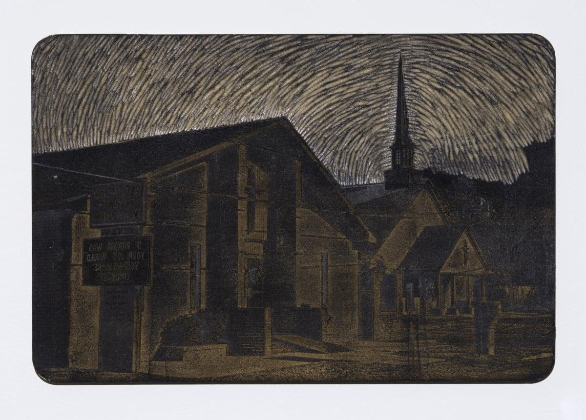 "Jonathan Wright Meet Me or Beat Me to That Church Laser Engraved Woodcut Matrix: 15 1/4""x 23"""