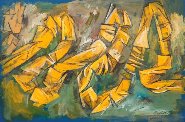 Derek Stafford, Yellow on blue, 2007