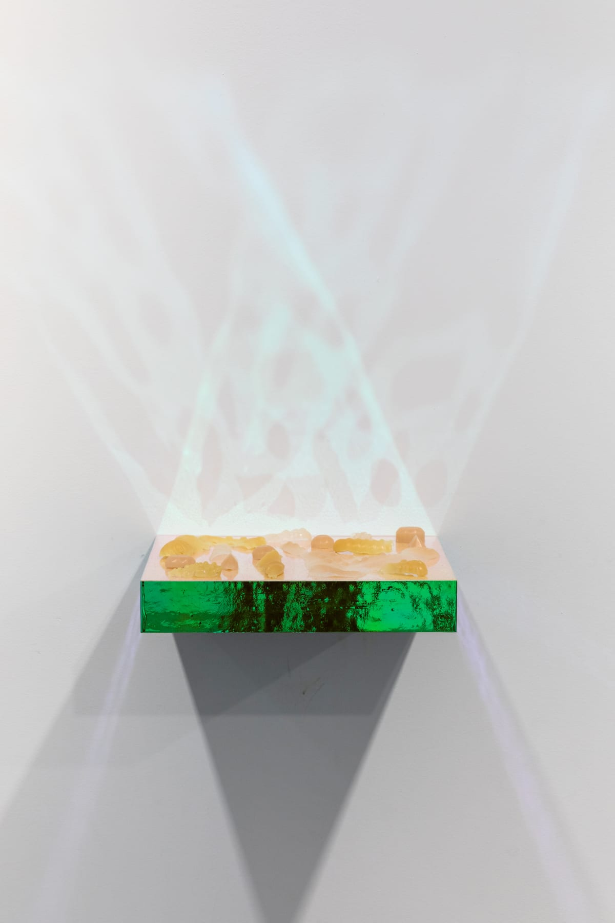 Bahareh Khoshooee MotiveDecay off, 2019 Dragon Skin, Silicone Rubber, iridescent transparency sheet, textured plastic sheet 1 x 12 x 12 in 2.5 x 30.5 x 30.5 cm