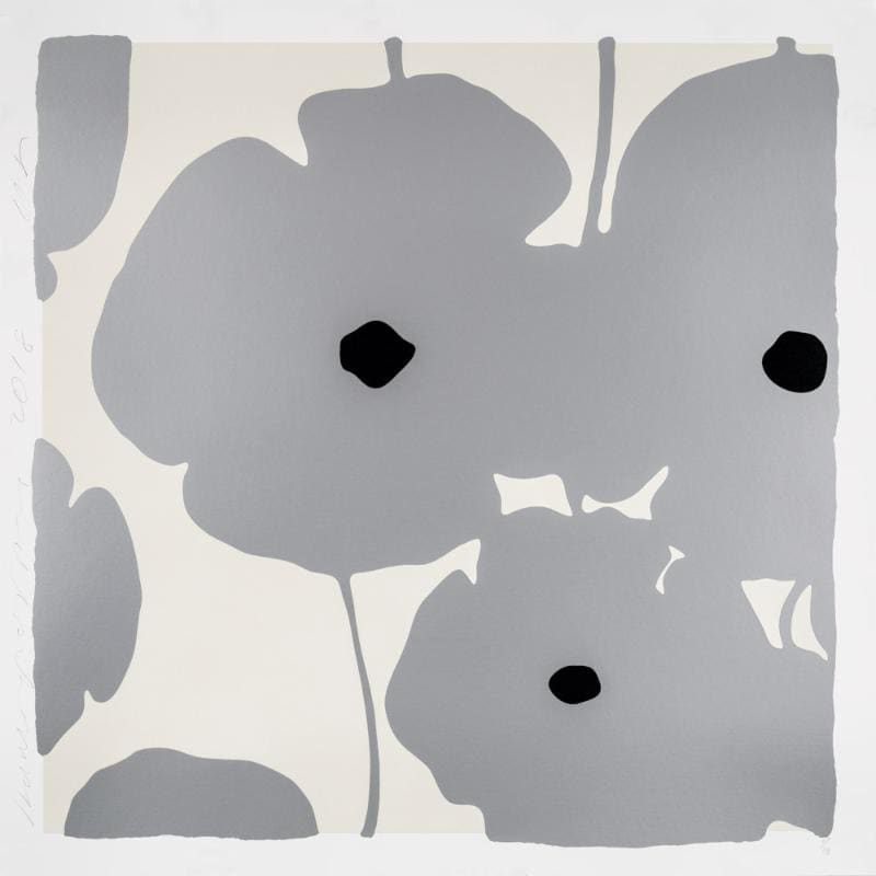 Donald Sultan, Four Poppies, Silver, 2018