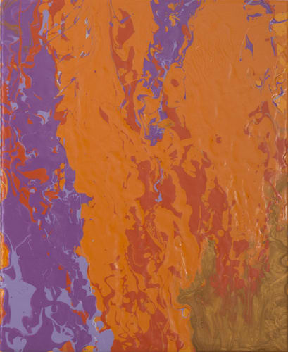 Leah Durner, orangevioletgoldred pour, 2015