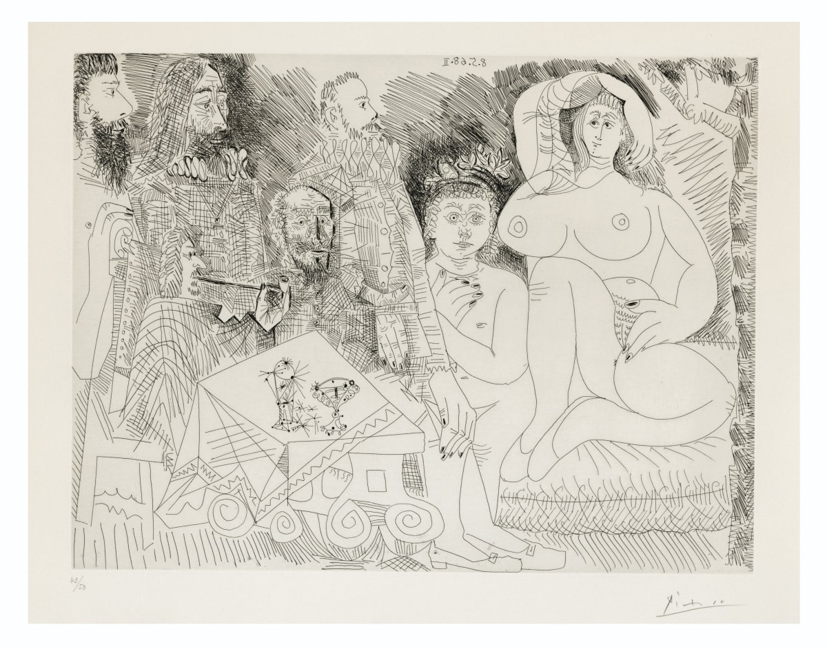 Pablo Picasso, Autour de la Célestine: Collation au Jardin, avec Jeune Bacchus Gras, 1968