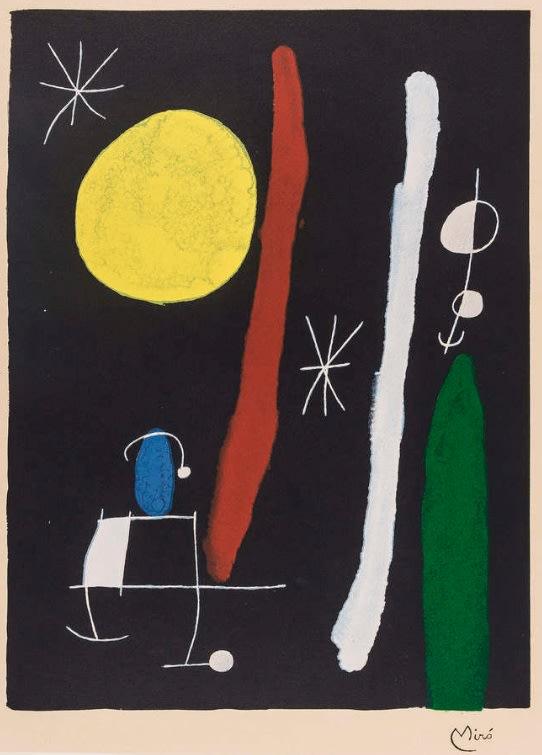 Joan Miro, Personnage et oiseau dans la nuit, 1960-1965