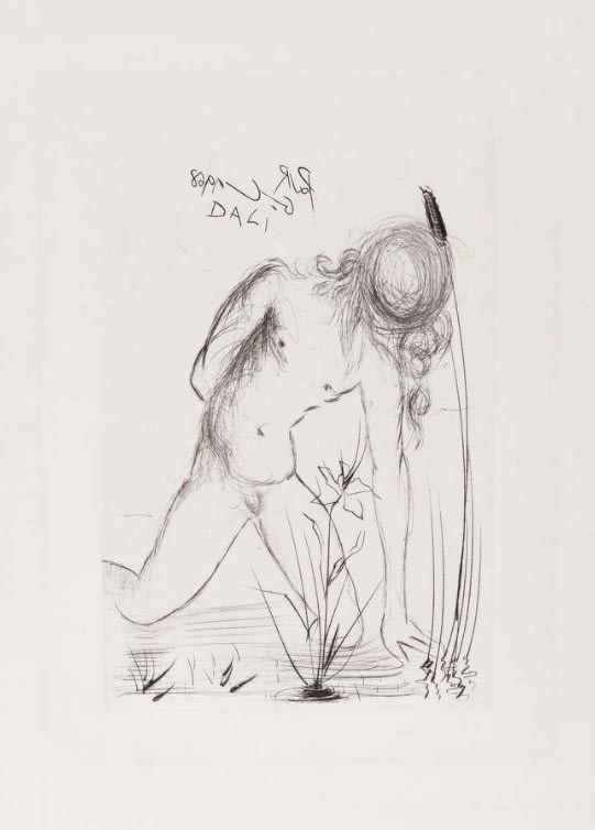 Salvador Dali, Narcisse (from Fifteen Etchings), 1968