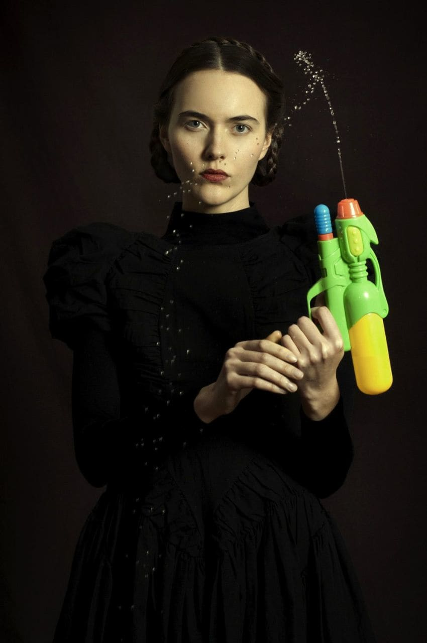 Romina Ressia, Woman with a Water Pistol, 2018