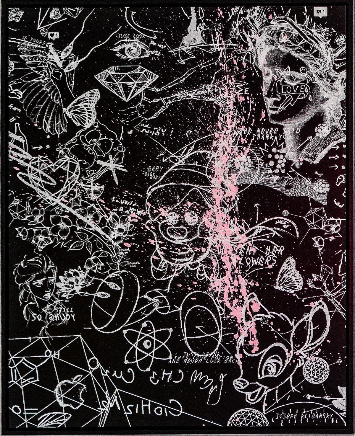 Joseph Klibansky, I Sent Her Flowers (black, white, pastel pink splash), 2019