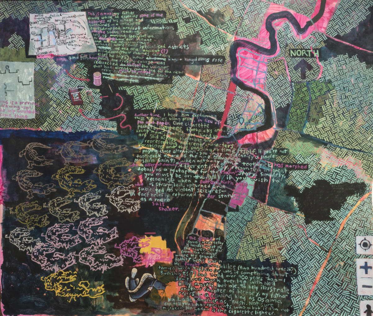 Ida Lawrence, A Village and Surrounds I (Maps and Props), 2019