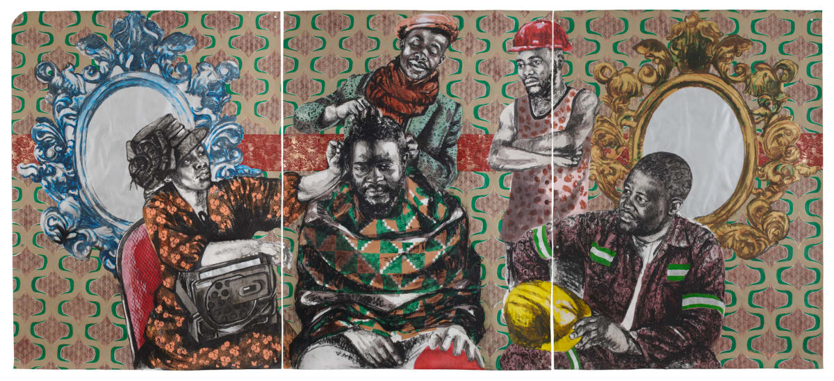 Bambo Sibiya, Street Barbershop (triptych), 2018