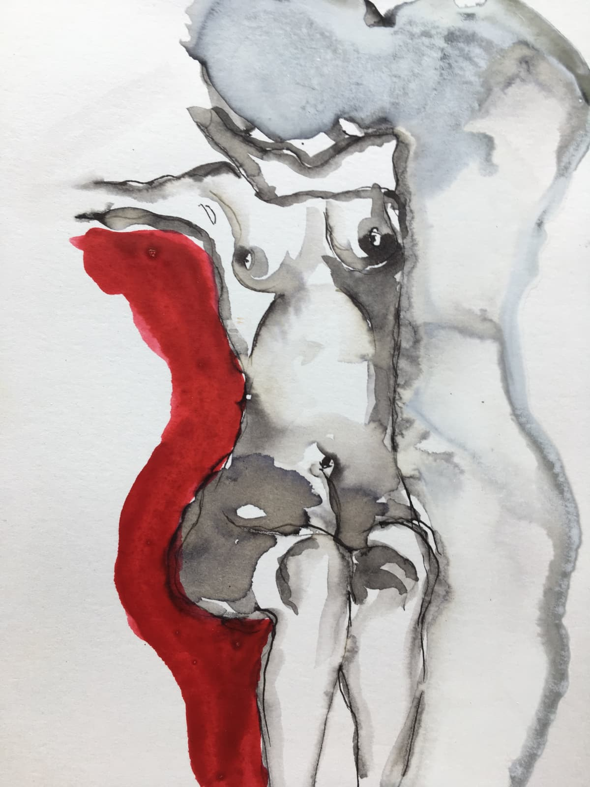 Thelma van Rensburg, Schiele nude on red III, 2018