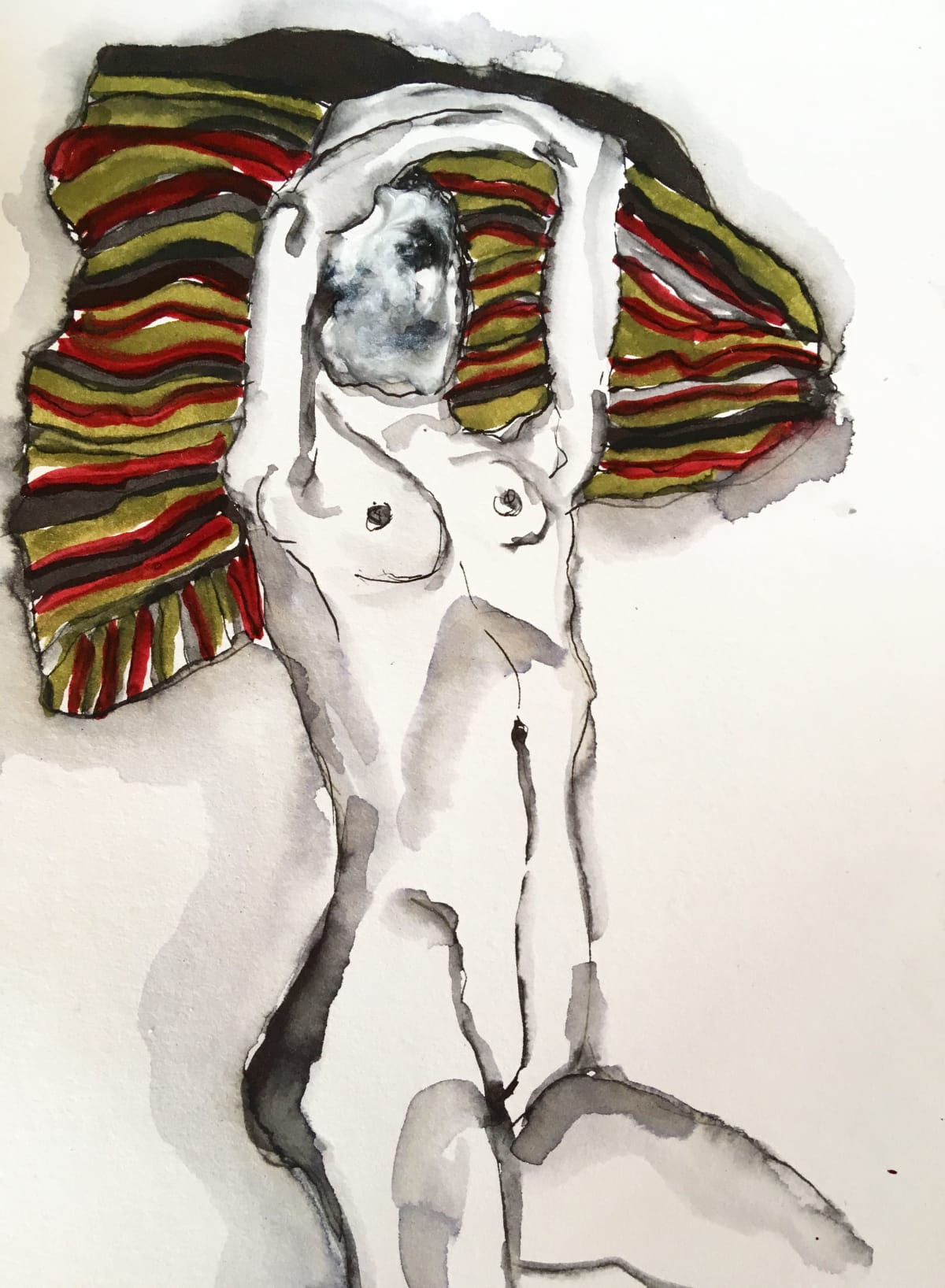 Thelma van Rensburg, Schiele nude on cloth II, 2018