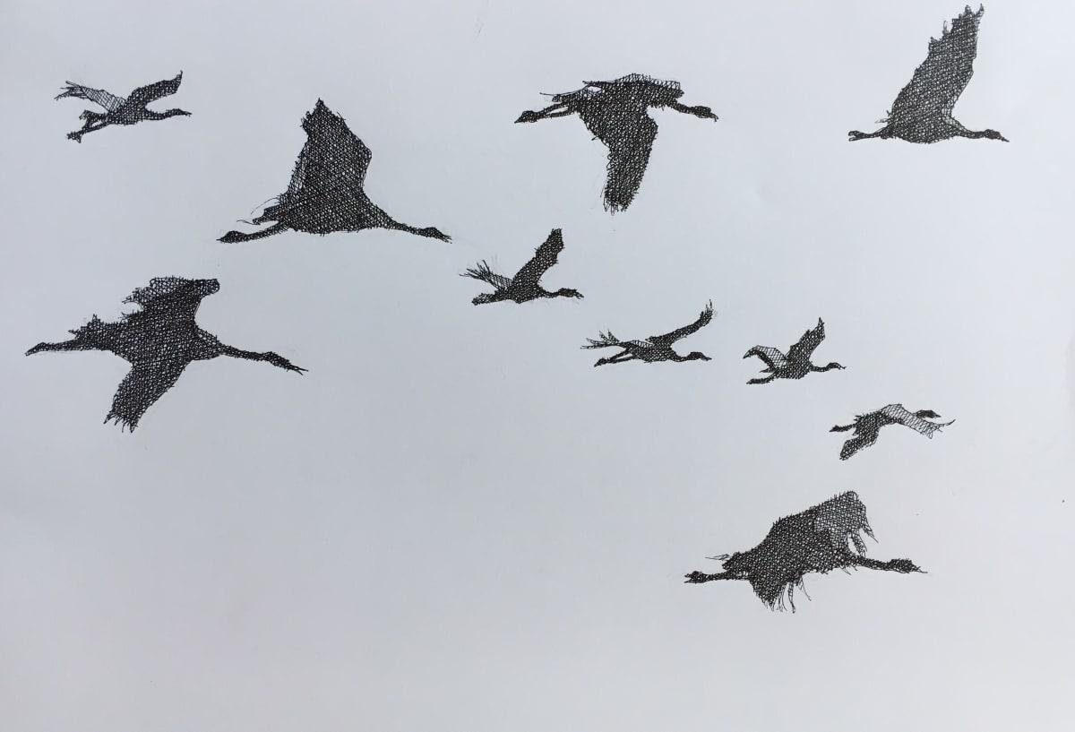 Vivien Budge , Blue cranes in flight, 2018