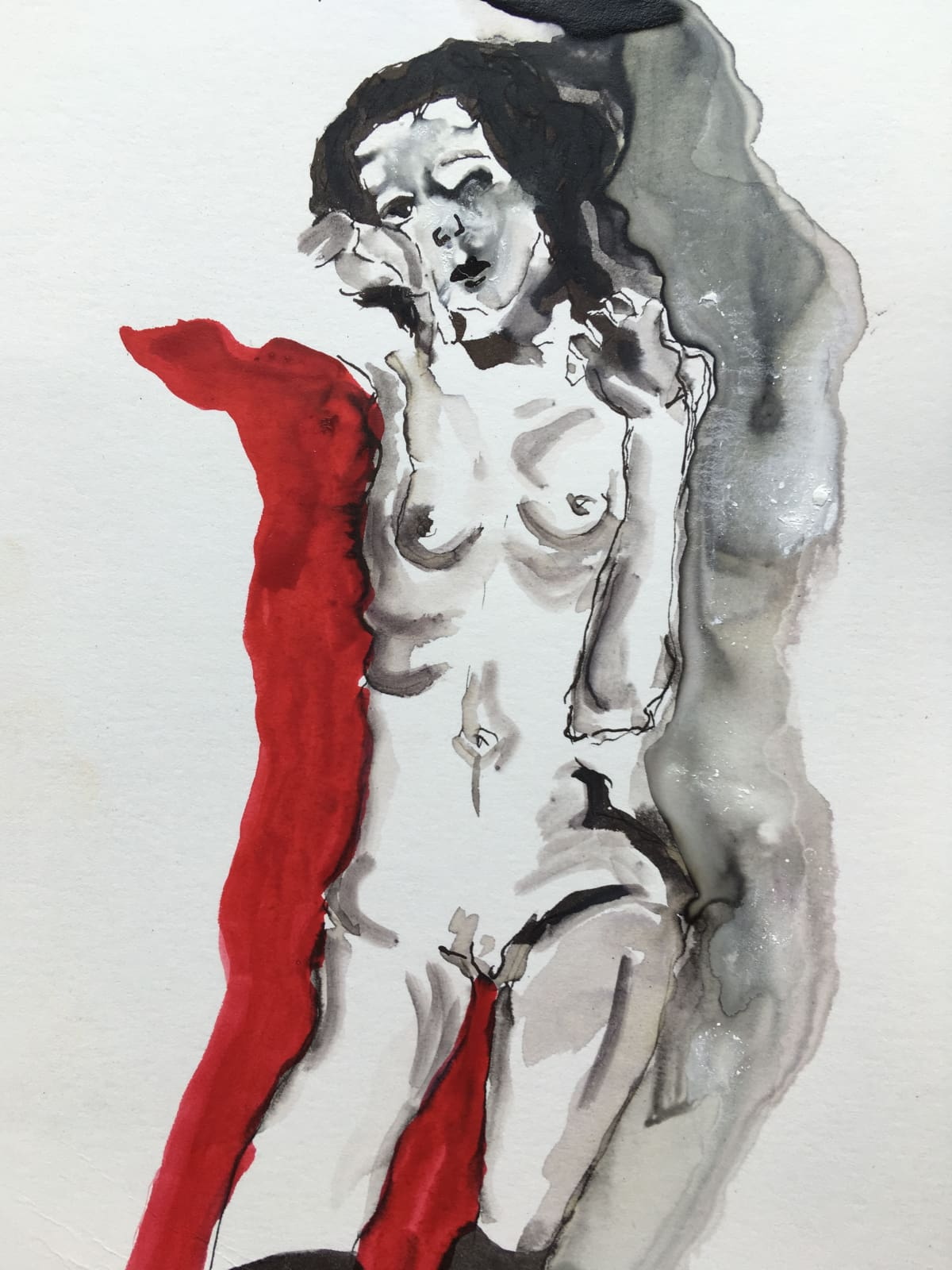 Thelma van Rensburg, Schiele nude on red II, 2018