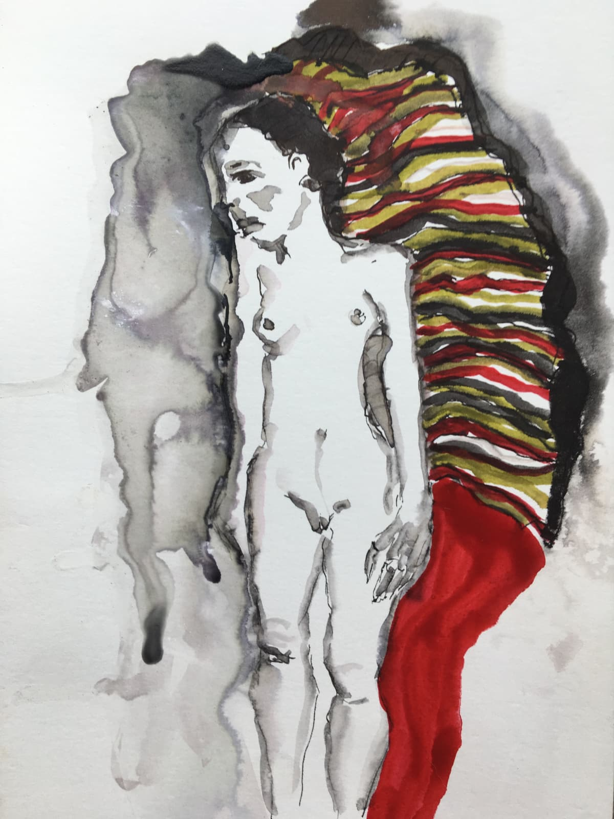 Thelma van Rensburg, Schiele nude on red I, 2018
