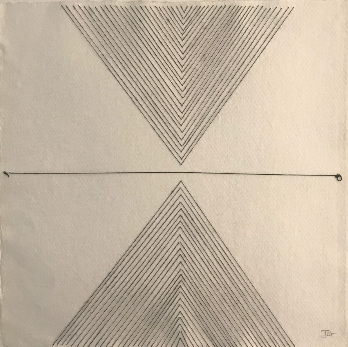 JANE GOODWIN Geometric drawing, 2019 thread on paper 38 x 37 cm 15 x 14 1/2 in initialled