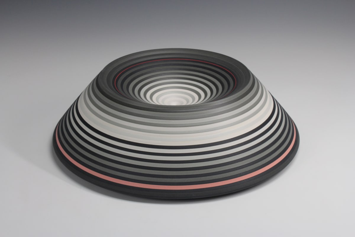 JIN EUI KIM #11 Cylindrical Form Wheel-thrown and brushed 18 different tones of engobes 34 x 49 cm 13 1/2 x 19 1/2 in initialled on base