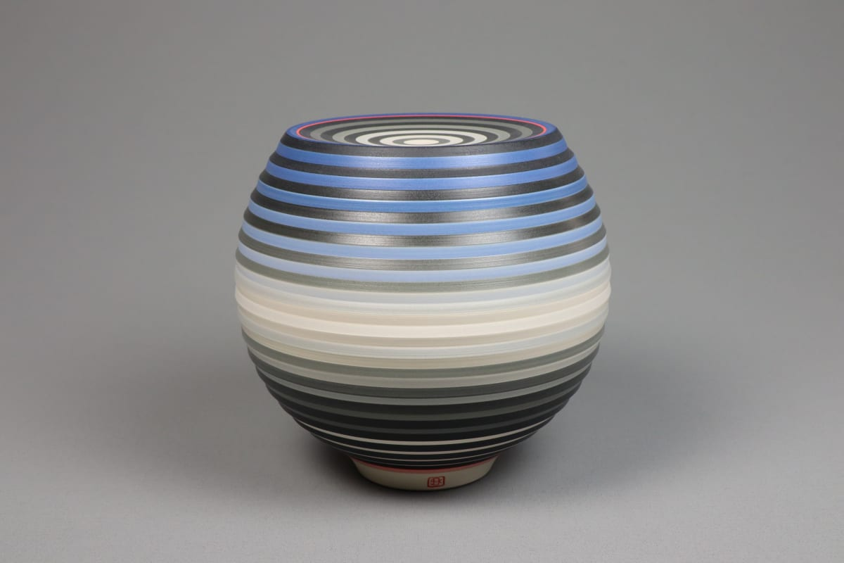 JIN EUI KIM Opject - Spherical Form, 2018 Earthenware, 1120c wheel-thrown and brushed 18 different tones of engobes 17.5 x 15.7 cm 7 x 6 1/2 in initialled on base