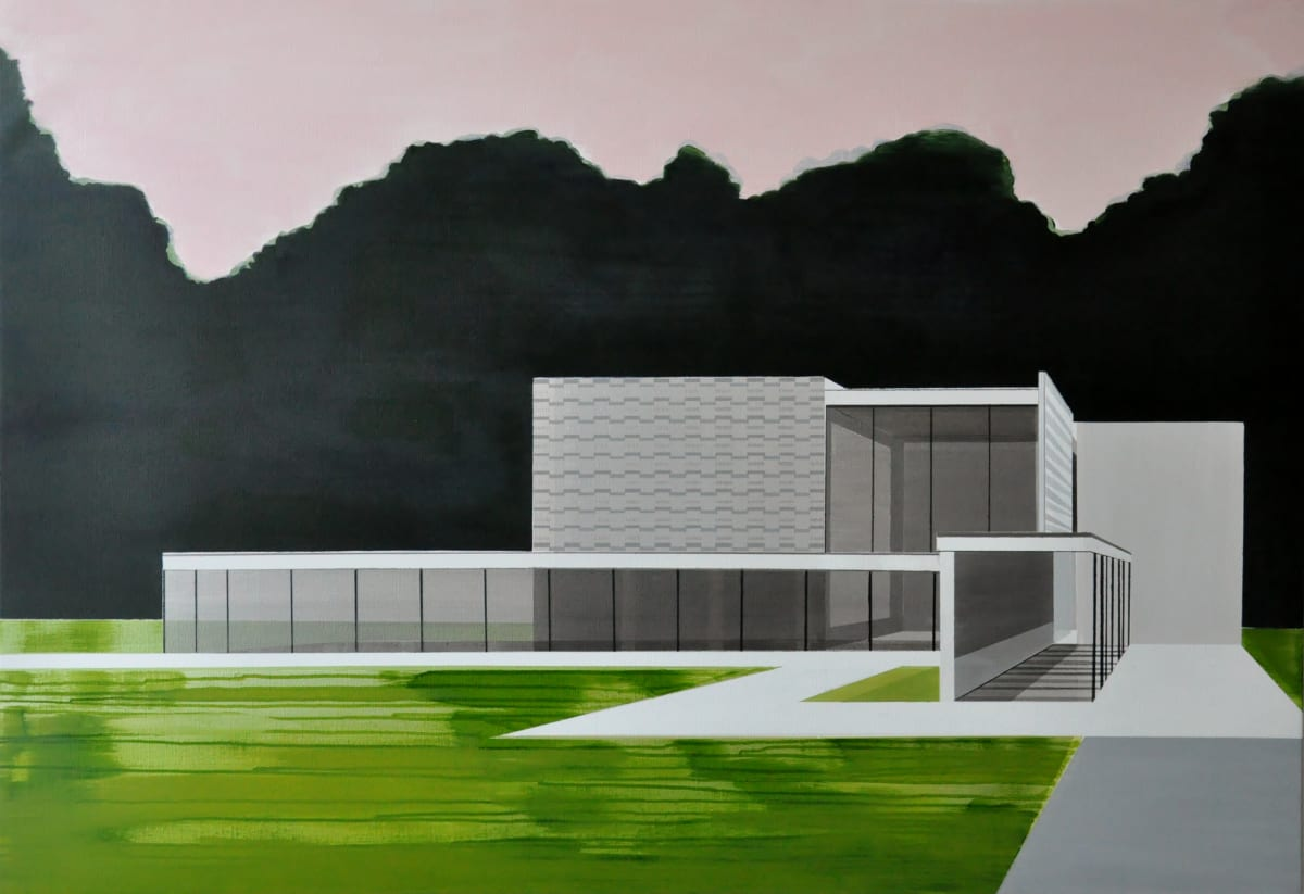 CECILE VAN HANJA Minimalist Pavilion, 2016 acrylic and oil on canvas 110 x 160 cm 43 1/2 x 63 in signed