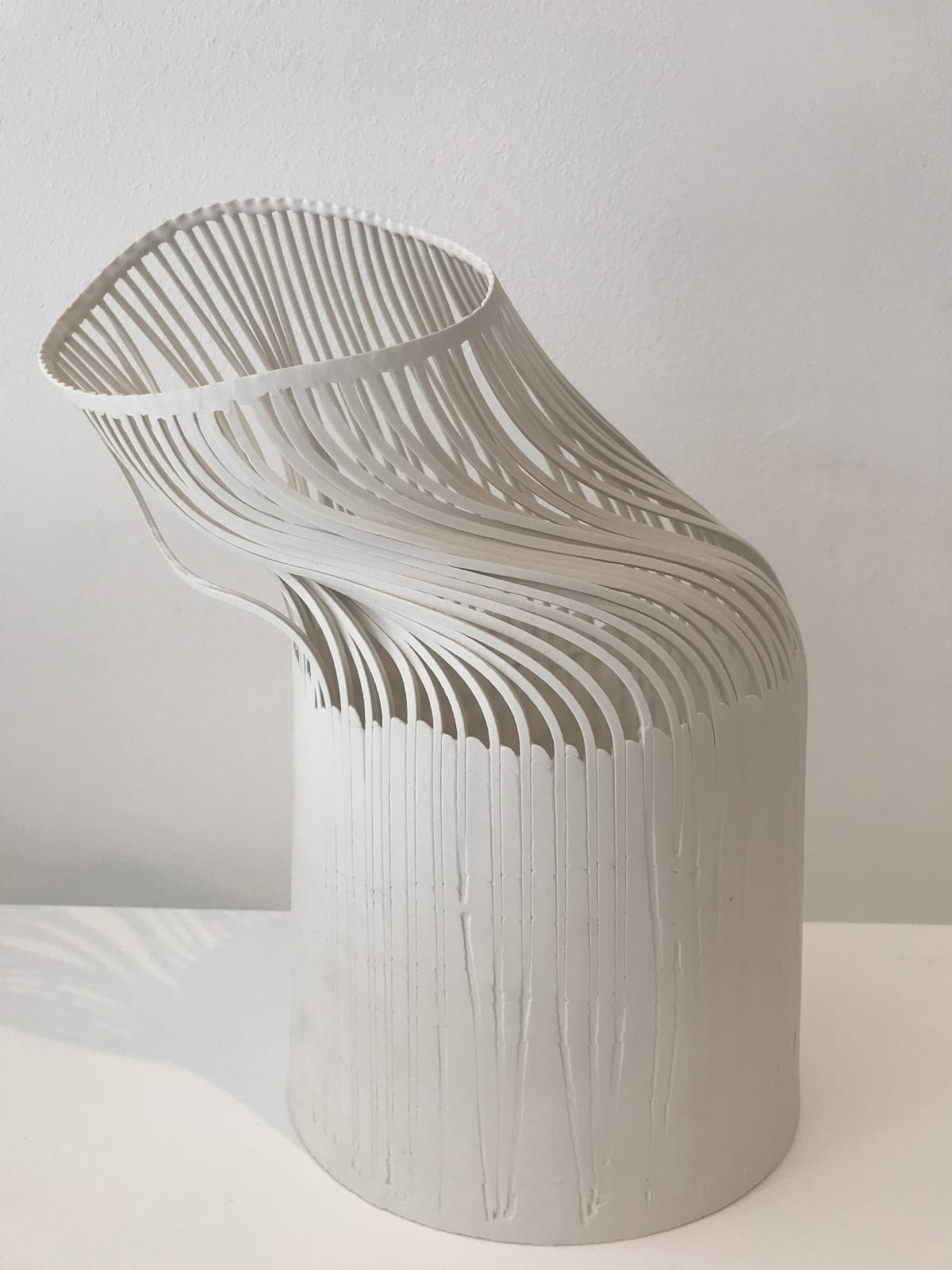 Lauren Nauman Lines - White with base porcelain, slipcast height 30 cm height 11 3/4 in