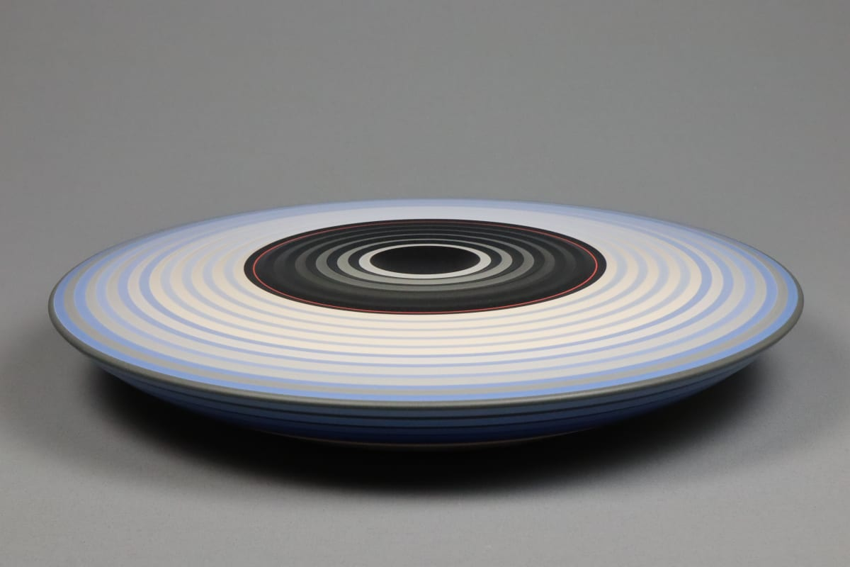JIN EUI KIM Opject - Lower Form, 2018 Earthenware, 1120c wheel-thrown and brushed 18 different tones of engobes 33.5 x 5.5 cm 13 1/4 x 2 1/8 in initialled on base