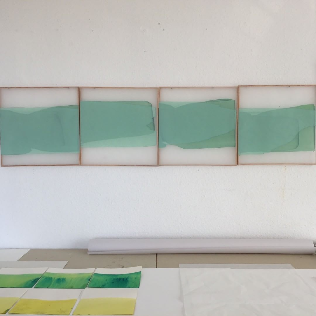 LYDIA MAMMES Floating Sheets, 2017 Oil on architectural tracing paper 40 x 160 cm 16 x 63 in Signed and dated