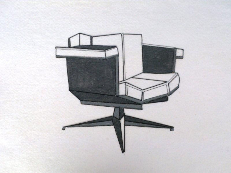 JANE GOODWIN Iconic Chair Suite - 1 thread on paper 37 x 38 cm 14 1/2 x 15 in Initialed JG bottom right hand corner