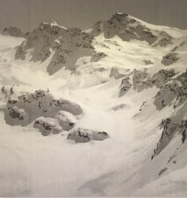SONJA WEBER Mountains Jacquard fabric 145 x 140 cm 57 1/2 x 55 1/2 in signed and dated