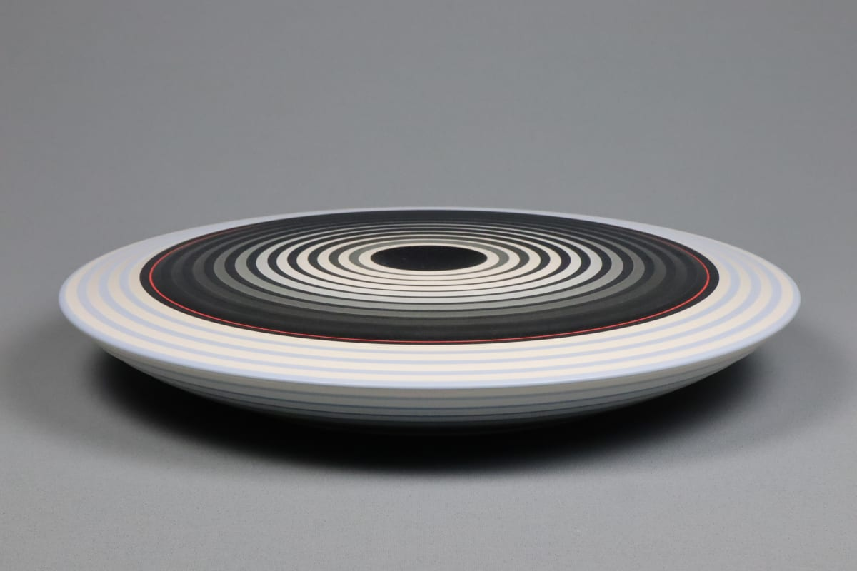 JIN EUI KIM Opject - Lower Form, 2018 Earthenware, 1120c wheel-thrown and brushed 18 different tones of engobes 33.5 x 5.5 cm 13 1/2 x 2 1/2 in initialled on base