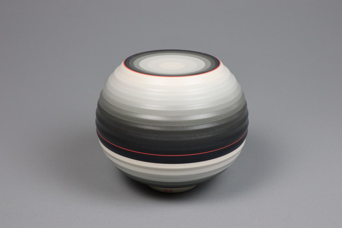 JIN EUI KIM OPject - Spherical Form, 2018 Earthenware, 1120c wheel-thrown and brushed 18 different tones of engobes 13 x 15.6 cm 5 1/2 x 6 1/2 in initialled on base