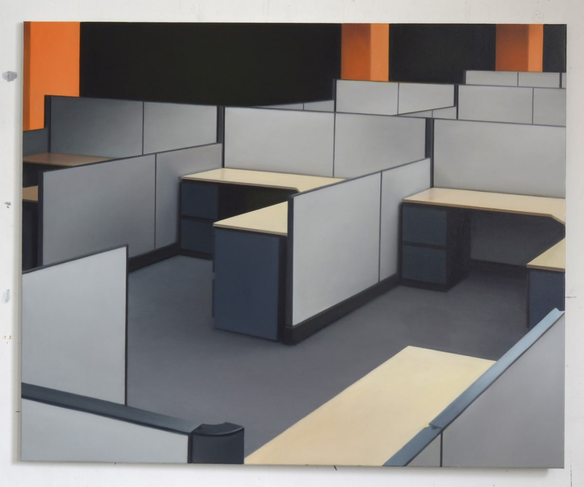 ARNOUT KILLIAN Cubicles (Orange), 2019 oil on canvas 130 x 160cm signed and dated
