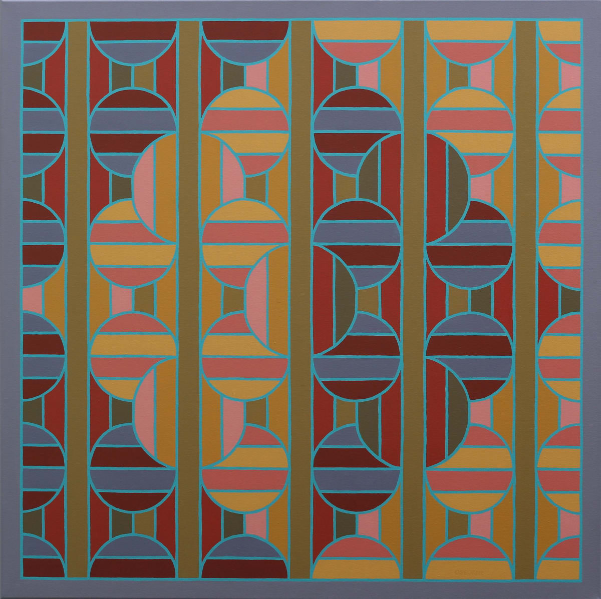 ROY OSBORNE Chromotopia 27 (Per Pale) Divisions series, 2013 oil on canvas 100 x 100 cm 39 1/2 x 39 1/2 in signed and dated