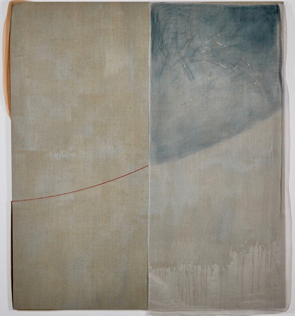 Gwenyth Fugard Construct 10, 2017 oil, organza, copper wire and thread on linen 180 x 160 cm 70 7/8 x 63 in signed