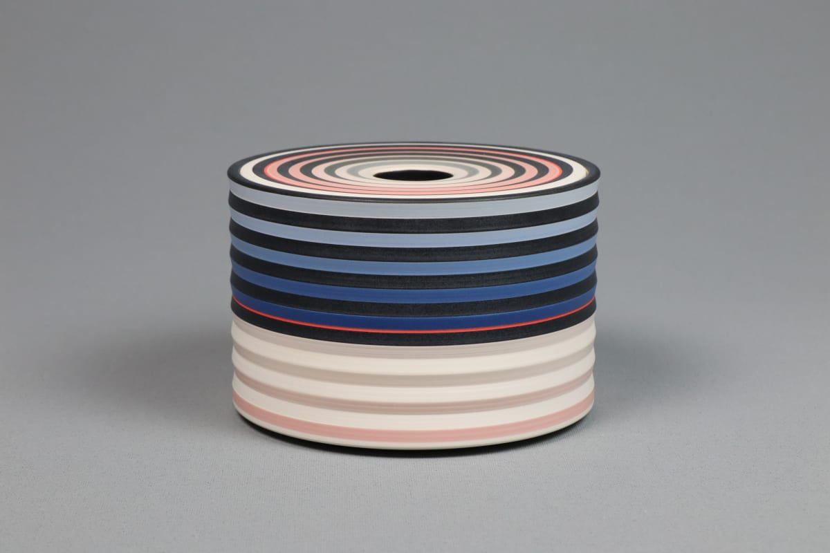 JIN EUI KIM OPject - reversible lidded box, 2018 earthenware, 1120c wheel-thrown and brushed 18 different tones of engobes 8.6 x 12.2 cm 3 1/2 x 5 in initialled on base