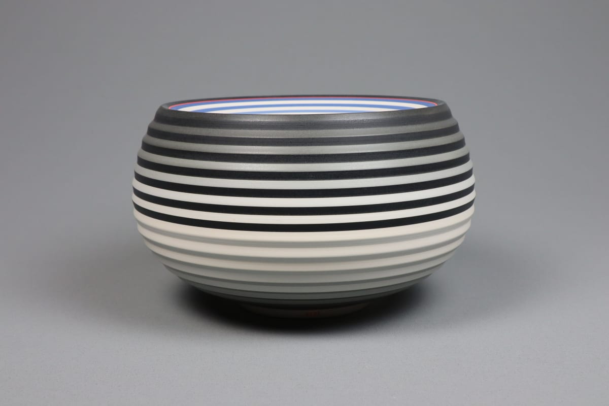 JIN EUI KIM OPject Spherical Form, 2018 Earthenware, 1120c wheel-thrown and brushed 18 different tones of engobes 21.5 x 12.6 cm 8 1/2 x 5 in initialled on base