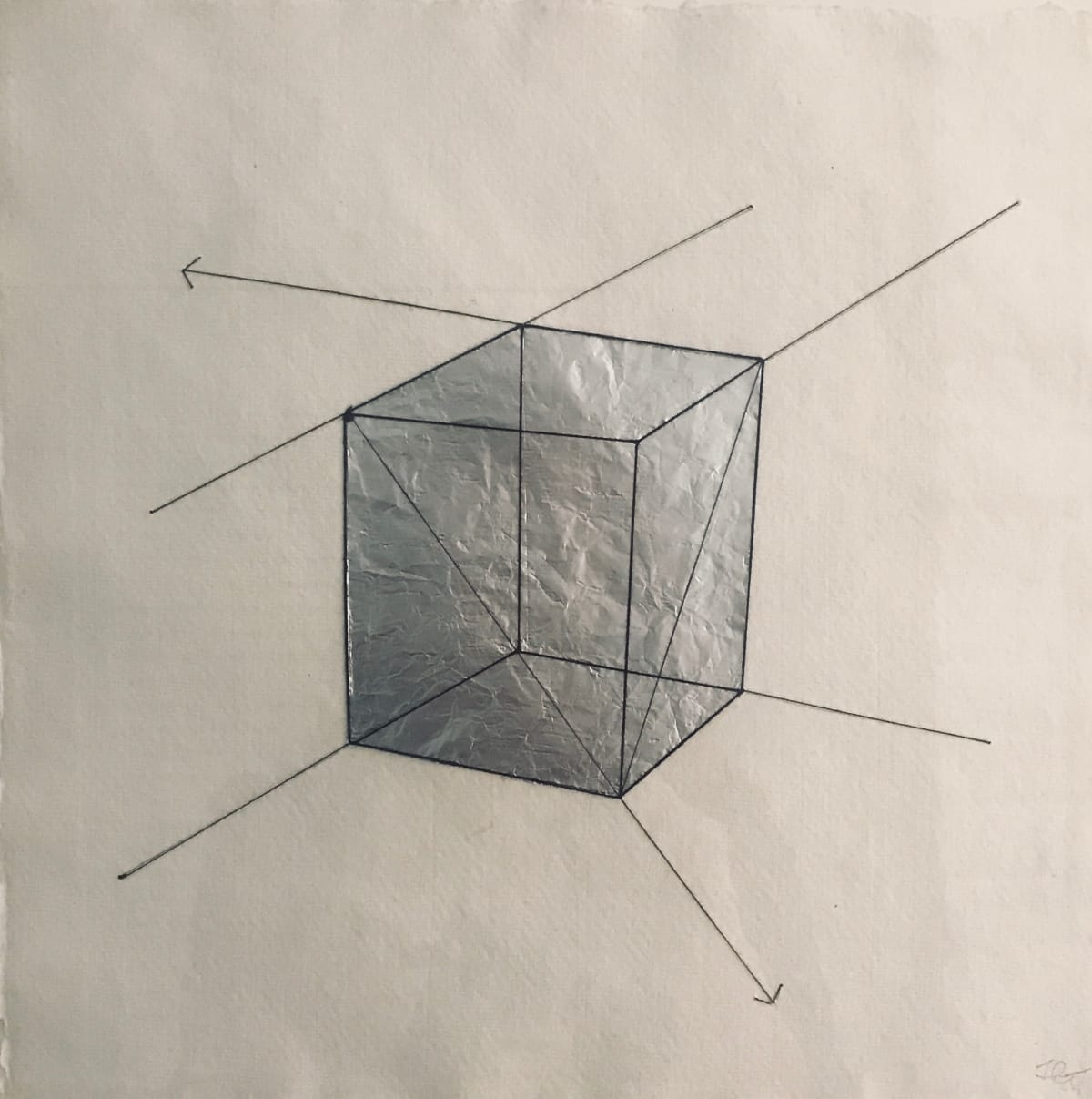 JANE GOODWIN Geometric drawing, 2019 thread and silver paper 38 x 37 cm 15 x 14 1/2 in Initialled