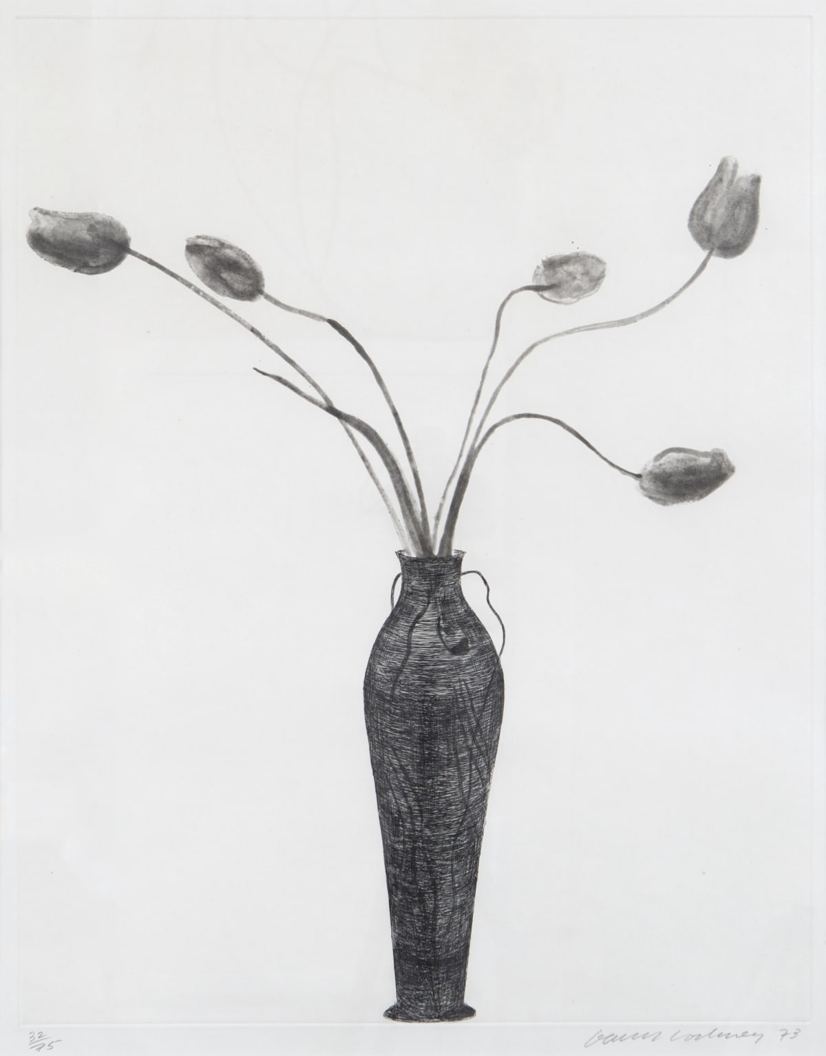 David Hockney Tulips, 1973 Etching and Aquatint Image: 68 x 54 cm / Paper: 92 x 71.5 cm Edition of 75 plus 16 proofs