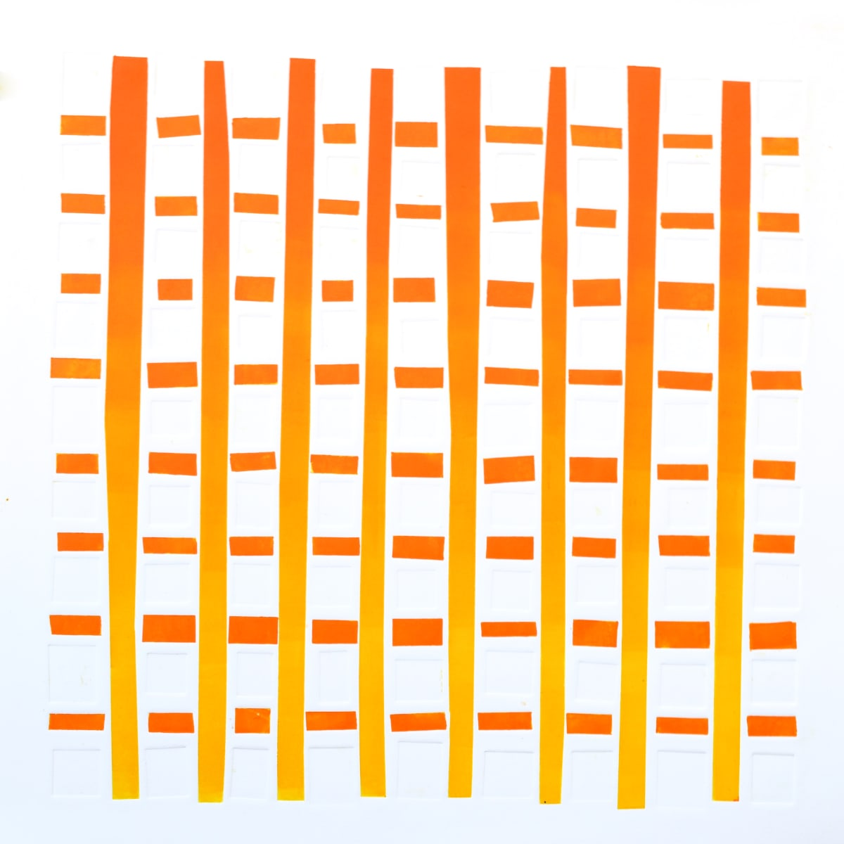 Alexander Arundell Orange Colourgrid, 2018 Material Print and Embossment 70 x 70 cm