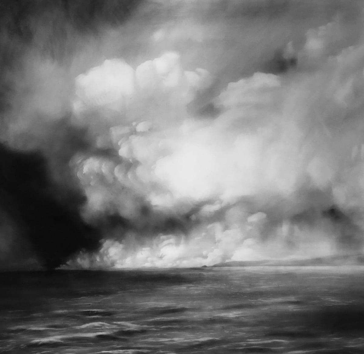 Helen Jones Tide, 2019 Black pigment on tracing paper 110 x 94 cm