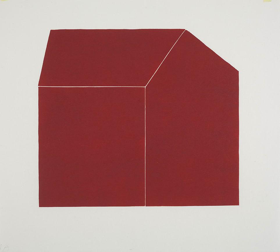 Hanne Borchgrevink House Shape, Red, 2013 Woodcut 59 x 59 cm