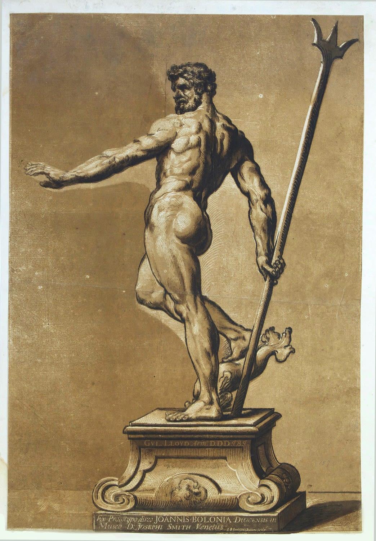 John Baptist JACKSON Statue of Neptune., c.1738. Chiaroscuro woodcut after Giovanni da Bologna, known as Giambologna, printed in three shades of sepia and black. 57,3 x 38,5 cm.