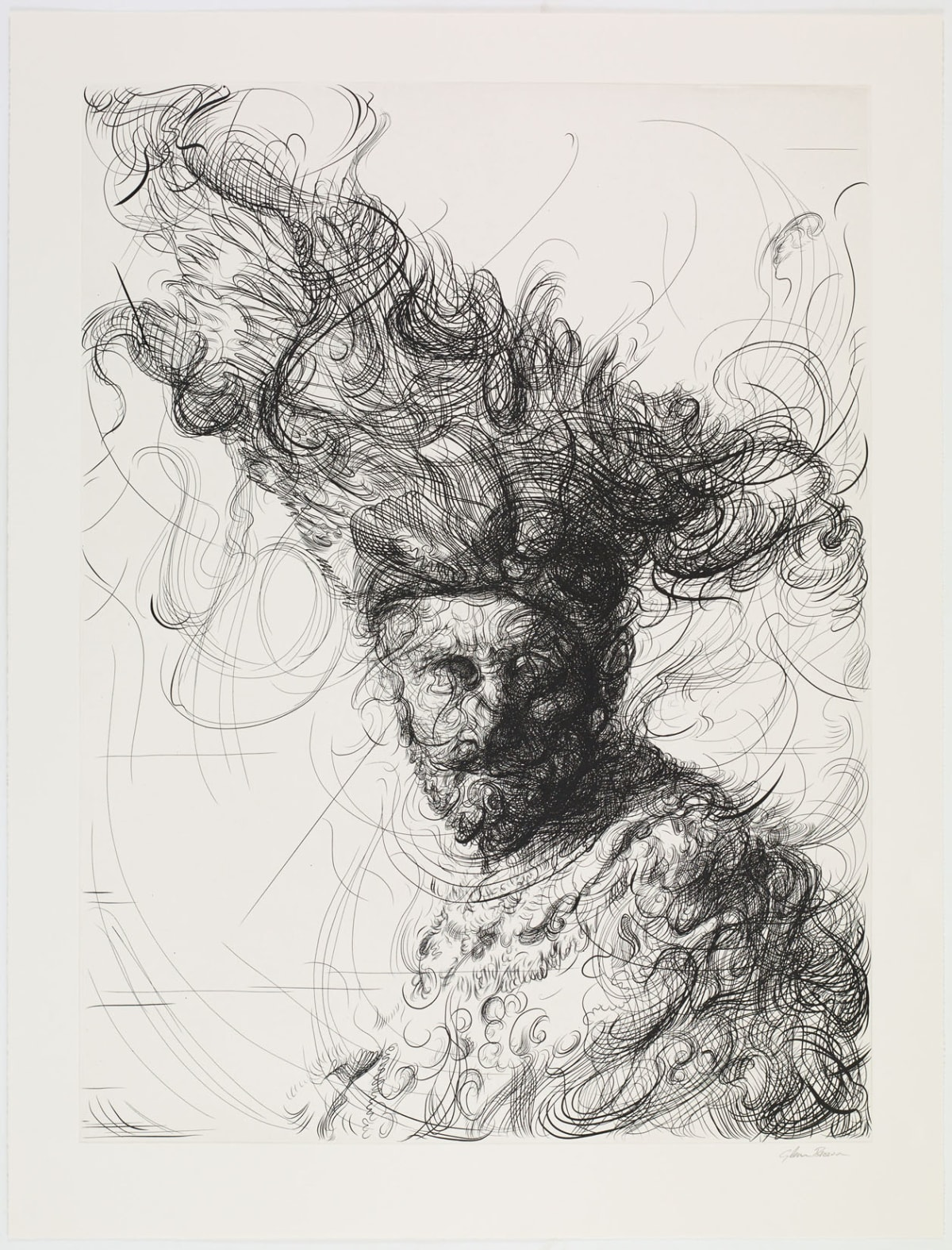 Glenn Brown Bring on the Dancing Horses (after Rembrandt), 2019 Etching 103 x 78.8 cm Edition of 38