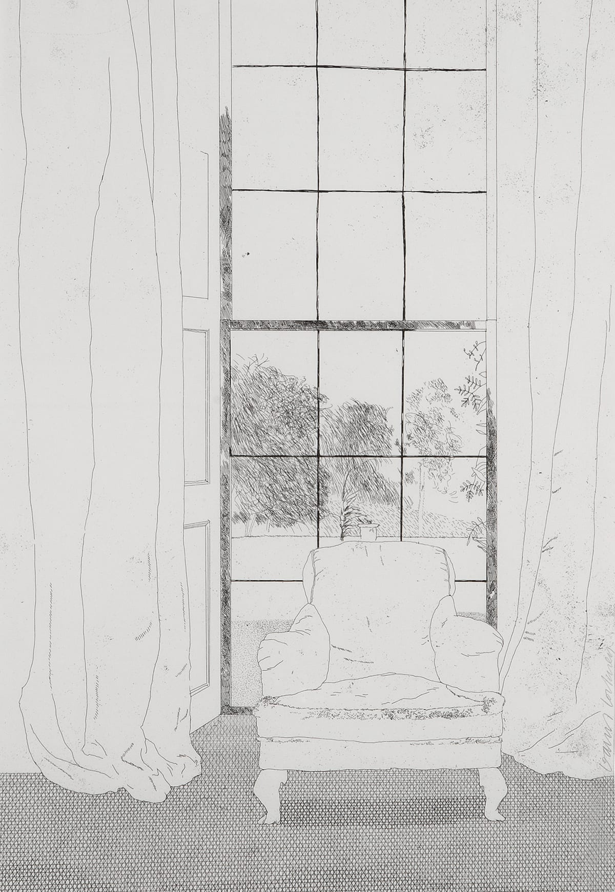David Hockney Home, 1969 Etching Image Size: 44.3 x 31.1 cm / Paper Size: 45.6 x 31.1 cm Edition of 100